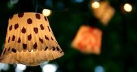 """Add cupcake liners to a strand of lights to make a cute """"shades"""". What a cute idea for an outdoor party!!"""