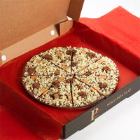 Pizza Base: Belgian milk chocolate.Pizza Pizza Toppings: Vanilla fudge pieces, chunks of chocolate brownie cookie, finished with white chocolate curls.12'�'� pizza - cut into 16 slices.10'�'� & 7'�'� pizza - each cut into...