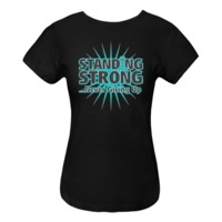 Standing Strong...Never Giving Up Ovarian Cancer Women's Fitted T-Shirts featuring a starburst design and an awareness ribbon