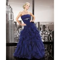 Charming Ball Gown Strapless Beading Ruching Floor-length Organza Wedding Dresses - Dressesular.com