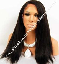 "16"" Lace Front Kinky Straight Color #1B or #1"