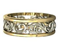 Gold Two Tone Wedding Band Celtic Band Floral Band Ornament Filigree Band Edwardian Ring $770.00