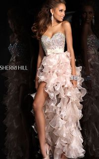 Nude High Low Bejeweled Gown by Sherri Hill 21158