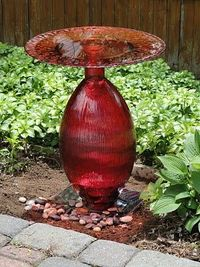 Tutorial: Birdbath from cheap vase and platter from Marshall's. wow. i kind of love this.