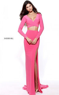 Long Sleeved Sherri Hill 50920 Two Piece Slit Coral 2017 Evening Dress