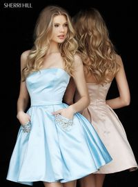 51390 Satin Straight Neck Beaded Pockets Dress For Homecoming by Sherri Hill Strapless Light Blue