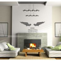 """Description: Size : 53""""W x 31.5""""H ( 135cm W x 80cm H ) Category : Quote Wall Sticker Material : Vinyl Wall Sticker Room :bedroom, living room, office Color:Black Includes:Wing, Words"""