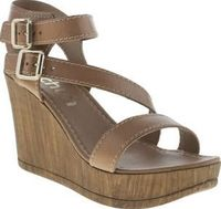 Schuh Tan Twilight Womens Sandals Transform your outfit from day to night with this little beauty. Twilight from schuh arrives with tan leather straps, double gold buckle fastening and a lightweight 9cm wedge for added height. Its per http://www.comparest...