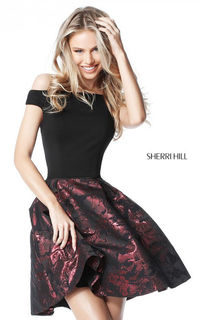 SHERRI HILL S51460 OFF THE SHOULDER SHORT A LINE HOMECOMING DRESS