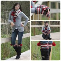 Patterns Coming soon to Sincerely Pam! Hooded Cowl, Boot Cuffs and Fingerless gloves. www.facebook.com/sincerelypam