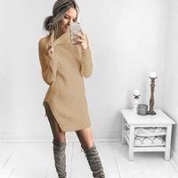 Women Fashion Winter Long Sleeve Sweater Split Turtle Neck Solid Color Dress $23.50