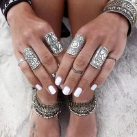docona 4pcs Sliver Plated Vintage Rings Set Beach Rings Ethnic Totem Carving Boho Style Rings for Women Charm jewelry $25.00