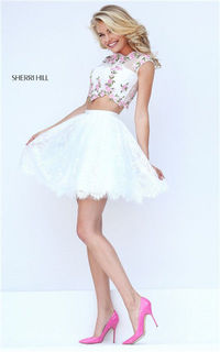 Ivory/Pink Open Back Two-Piece Floral Homecoming Dress By Sherri Hill 50478