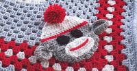 Sock Monkey Granny Square Blanket