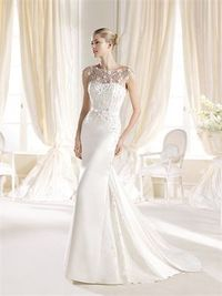 Mermaid scoop the shoulder sequins sweep train satin wedding dresses