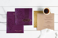"""Go to Store: https://www.indianweddingcards.com/card-detail/CW-1690  Card Code:- CW-1690 Price: $0.75 Size:- 7.62 """" X 7.62 """"  Weight: 70 Grams Card Color:-Purple Paper Type:- Shimmer Paper Insert's Color: Ivory,Gold  Insert'..."""