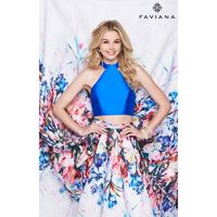 Royal/Multi Faviana S7982 - 2-piece Ball Gowns Long Open Back Dress - Customize Your Prom Dress