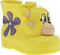 Melissa Yellow Jeremy Scott Monkey Girls Toddler Fashion maverick Jeremy Scott lends his fun and vibrant design aesthetics to Melissa to create the Monkey Boot. The kids shoe arrives in sweet-smelling yellow rubber, complete with a quirky monkey hea http:...