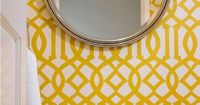 powder room // yellow & white trellis wallpaper