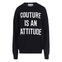 Moschino COUTURE IS AN ATTITUDE Long Sleeves Sweater Black