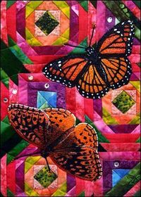 Thistle Quartet starring Great Spangled Fritillary and Viceroy. Lynn Ticotsky, fiber artist