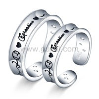 Gullei.com Expandable Matching Couples Wedding Bands with Engraving