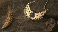 Sterling Silver Surface- Pendant Crescent Moon with iridescent stain glass.Modern juwelry, Boho Accessory, lunar necklace, elf Luna $74.00