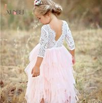 Princess Soft Tulle White Pink Puffy Lace Flower Girl Dresses $36.99