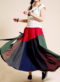 Linen Breathable comfort Patchwork Bohemia Big swing Long skirts