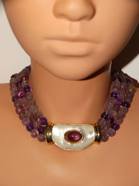 Kai Yin Lo 160g Ster 925 High Quality Natural Amethyst Stone Necklace. $1179.00