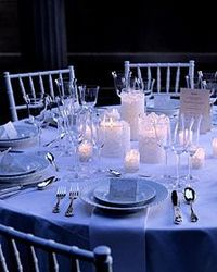 Establish a gentle ambience with lacy candle centerpieces that glow like moonlight.