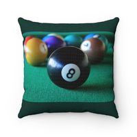 8 Ball Pool Table Polyester Square Pillow $20.00