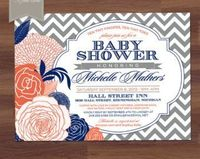coral and navy crib bedding - Google Search
