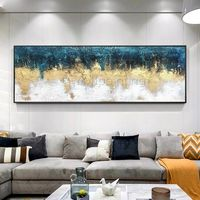 Framed wall art Acrylic Abstract Gold blue Original paintings on canvas extra large painting wall pictures $89.00