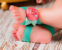 Baby Girl Barefoot Sandals, Teal Turquoise Cream Stretchy Summer Shoes, Satin Rosette, Glass Pearl Bead, First Birthday Outfit Newborn Gift $7.00