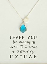 Set of 7 Blue Bridesmaid Necklace Silver Initial, Teal Bridesmaid Personalized Necklace, Blue necklace, Bridesmaid initial, HP7 $188.50
