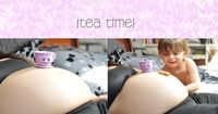 Maternity Portrait with older sibling hosting tea time on mom's BUMP!