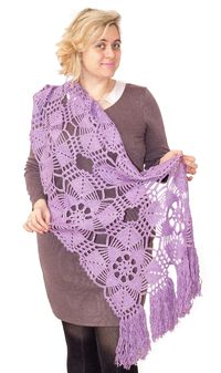 Purple knitted wrap scarf, as warm Christmas gift, oversized long lace cape for plus size women. Boho gypsy style. $56.00
