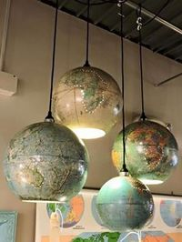 LIght fixtures made from old globes