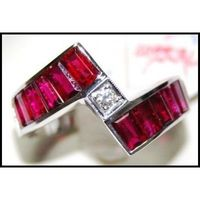 For Men Red Ruby Ring and Diamond Unique 18K White Gold [RQ0005]