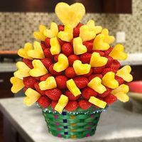 Lovely Strawberry Arrangement - Strawberries and pineapples never delicious like that. You can choose hand-dipped in dark, white or milk chocolate. This edible fruit arrangement is specially for your happy moments. You can create your own edible fruit arr...