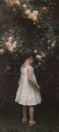"""Oil Painting by Contemporary Artist Jeremy Lipking - Eden Rose Artist's Daughter. """"The Secret Garden"""" book comes to mind when I look at this."""