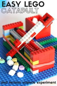 How to build an easy catapult for kids and learn about tension. Build a simple LEGO catapult with basic bricks. Fun STEM activity for kindergarten and grade school kids. #ArtsandCraftsProjects