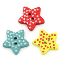 Pack of 100 Assorted Colours Wood Polka Dot Star Buttons. 15mm Wooden Clothing Accessory £6.99