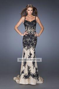 Cheap Black/Nude Mermaid Lace Long Prom Dresses 2015