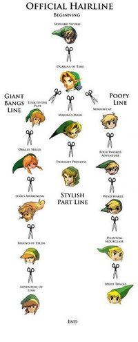 The many versions of Link and his fabulous hair. I gotta say, Twilight does have a pretty stylish part.