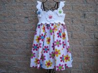 Dress, COLORFUL WHITE, Crochet Bodice and Fabric Skirt, for Toddlers | ElsaSieron - Clothing on ArtFire