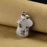 White hetian jade Tang suit necklace-925 Silver Necklace-Silver Boho Necklace-Auntie Gift-necklace for women-necklace for mom-Free shipping Message Seller