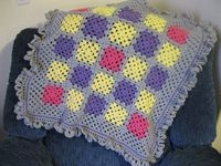 Crochet Baby Blanket Granny Square Afghan with by afewlittlebumps