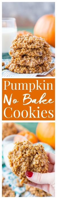 These Pumpkin No Bake Cookies are crazy delicious and so simple to make! Made with oatmeal, pumpkin spice pudding mix, sugar, butter, and more, these cookies will be a hit at home, the office, or a party! Don't let fall pass you by without making a ba...